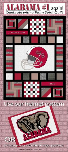 University of Alabama quilt.  Our Team Spirit quilt pattern with a Crimson Tide twist!  Buy it now: http://www.craftsy.com/pattern/quilting/home-decor/team-spirit/76587.  Create your own Alabama logo applique pattern - click on the website link for an easy tutorial!