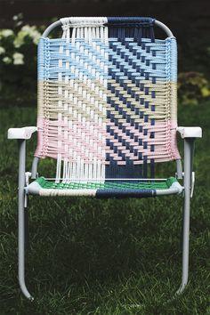 Woven Macrame Folding Lawn Chair DIY - pretty easy