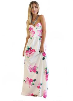 Enchanted Floral Print Maxi Dress - Pink + White RESTOCKED!