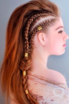 Side braids to achieve a faux hawk style Boxer Braids Hairstyles, Prom Hairstyles For Long Hair, Cute Hairstyles, Braided Hairstyles, Princess Hairstyles, Mohawk Hairstyles For Women, Viking Hairstyles, Teenage Hairstyles, Updo Hairstyle