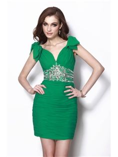 Gorgeous Sheath/Column V-Neck Short/Mini Beading Natilie's Party Dress Junior Prom Dresses- ericdress.com 9654974