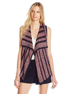 Lucky Brand Women's Striped American Knit Vest >>> Tried it! Love it! Click the image. : Fashion