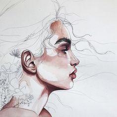 Watercolor Art Face, Watercolor Portraits, Watercolor Paintings, Illustration Mode, Watercolor Illustration, Illustrations, Cool Art Drawings, Art Sketches, Guache