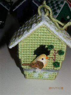 Image result for plastic canvas bird house