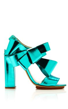 DELPOZO Metallic-Leather Bow-Detail Sandals in Turquoise