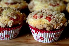 Strawberry rhubarb muffins with streusel topping. A tad too sweet, might cut out the streusel topping because it was great other than being a bit oversweet.