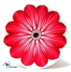 Polymer clay  flower cane red GERBERA cane  -by Mars