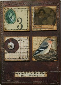 """bird collage"" ... ""ATC vintage inchies TRADED"" by Kate, thekathrynwheel, on Flickr (2008) .......ok so I had to look up inchies and ATC because apparently I'm out of touch with these trends! inchies: http://www.craftster.org/forum/index.php?topic=303188.0#axzz2ldVV2mnu and ATC: http://en.wikipedia.org/wiki/Artist_trading_cards ...I would love to get into this artist trading card thing!"