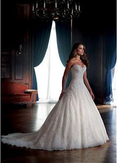 Stunning Lace & Tulle & Satin A-line Sweetheart Neckline Wedding Dress With Beaded Lace Appliques & Diamonds