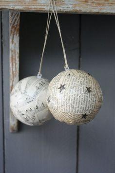 DIY Christmas ornaments - Use old books or music sheets and mod podge to styrofoam balls. Use Christmas stickers accents Diy Christmas Ornaments, Homemade Christmas, Christmas Projects, Holiday Crafts, Holiday Fun, Christmas Holidays, Christmas Bulbs, Navidad Diy, Ideias Diy