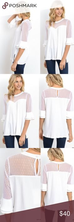 NEW IN Essential White Office Dotted Blouse Beautiful top! Perfect for the office or for outings. Semi sheer. Runs true. Tops Blouses