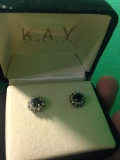 1 Ct Black Diamond Earrings 10k White Gold New With Box Kay Jewelers Round Stud Kayjewelers