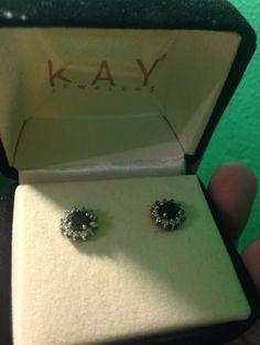 1 Ct Black Diamond Earrings 10k White Gold New With Box Kay Jewelers Round Stud