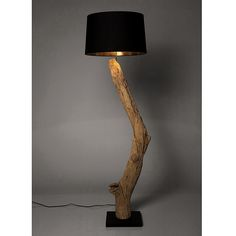 Stehleuchte Nature Straight - Baumwolle Schwarz/Treibholz Wood Floor Lamp, Wood Lamps, Driftwood Lamp, Cement Art, Home Design Diy, Wooden Canes, Tree Lamp, Home Themes, Green Woodworking
