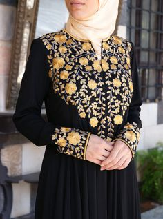 Huda Embroidered Gown with Sequins - Abaya Gowns - Women Pakistani Fashion Party Wear, Abaya Fashion, Mode Abaya, Mode Hijab, Colour Combination For Dress, Burqa Designs, Kurti Embroidery Design, Beaded Embroidery, Fancy Dress Design
