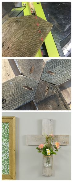 This is a great way to use up scrap wood and old glass jars. This post gives directions on how to make a wood cross using reclaimed wood or barn wood. Easy DIY gift idea that is handmade.