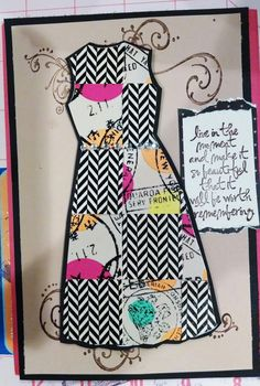 Washi tape dress with Tim Holtz stamps (stampers anonymous).  Travel related greeting card.
