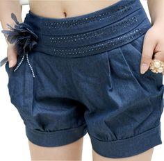 Chouyatou Women's Flower Denim Belted Bloomer Shorts (XX-Small, Blue)