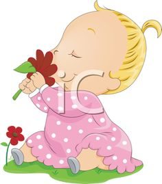 iCLIPART - Royalty Free Clipart Image of a Baby Smelling a Flower