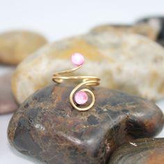 Adjustable Pink Crystal Knuckle Ring