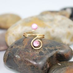Adjustable Pink Crystal Knuckle Ring