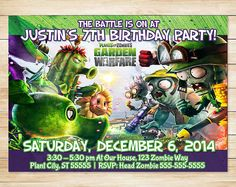 Plants Vs Zombies Invitation and Thank You by ApothecaryTables