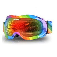 f9070a7cba Soared Kids Ski Goggles Winter Snow Snowboard Glasses Dual Lens UV  Protection Anti Fog OTG Skating