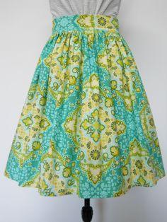 Gaby skirt, handmade skirt, colorful, adorable, knee legth skirt by MischaAtelier on Etsy