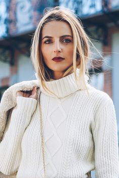 Jess Ann Kirby of Prosecco and Plaid features one of our fall favorites -  The Mixed Cable & Rib Turtleneck.
