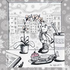 Have a warm winter #art #illustration #myart #pen #winter #window #bear #flower #photoshop #marker #tea #cupcakes