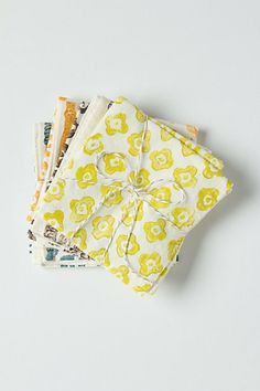 Opt for hemp or organic cotton napkins over paper.  They can last for years, rather than going straight to a landfill, plus they're cute!  These by Anthropologie.