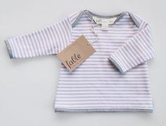 Hand Screenprinted Unisex Long Sleeve Baby Top in Organic Cotton - Damson Stripe on White.  via Etsy.