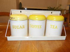 Vintage Set Yellow & White Kitchen Storage Tins / Canisters on Rack – Great! | eBay
