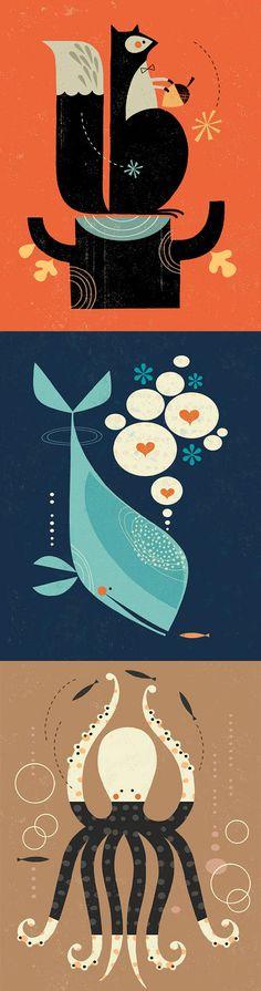 Tracy Walker Illustrations - Sea, octopus, whale art - Ocean Art Prints   Small for Big