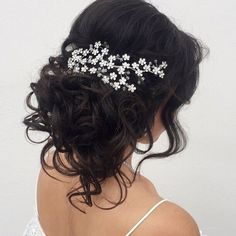 Curly Bridal Updo Bridal Updo, Veils, Headpieces, Flower Crown, Updos, Headbands, Curly, Long Hair Styles, Instagram Posts