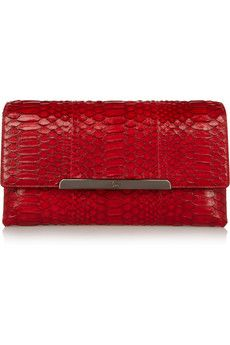 Christian Louboutin Rougissime python and leather clutch | NET-A-PORTER