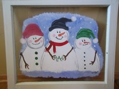 Snowmen Snowman Painted Painting on Vintage Window by ipaintstuff, $30.00
