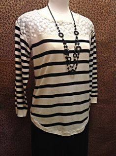 August Silk  - Off-white and black sweater with sheer floral embroidered yoke  - $60