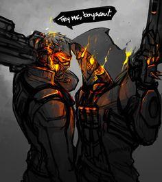 Overwatch OW Reaper Gabriel Reyes and soldier 76 Overwatch Comic, Overwatch Reaper, Overwatch Memes, Overwatch Fan Art, Overwatch Genji, Ghost Rider, Faucheur Overwatch, Video Game Art, Video Games