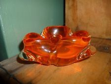 vintage Mid Century Art Glass Ashtray, Bright Orange