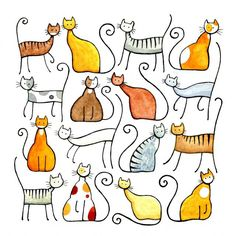 Assorted Cats by Julia Marshall Doodle Drawings, Animal Drawings, Doodle Art, Easy Drawings, Cute Cat Drawing Easy, Doodles, Cat Art Print, Rock Art, Painting & Drawing