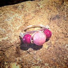 Riverstone Pink and Violet Wrap Ring