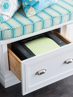 For small rooms, counter and work-surface space comes at a premium. Instead of keeping all those essential tech pieces such as printers and scanners out in the line of sight, tuck them into sized-right drawers.