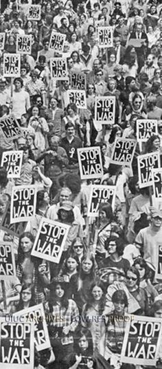 protesters march in silence against the Vietnam War along University Avenue in Champaign, Illinois, May Photo credit: Rob Glick — in Champaign, Illinois. Vietnam Protests, Vietnam Veterans, North Vietnam, Hanoi Vietnam, Graffiti, Hippie Culture, Age Of Aquarius, Historical Photos, Peace And Love