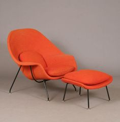 The Womb Chair (1948), made of upholstered molded plywood, fulfilled Florence Knoll's request for a comfortable chair to curl up in. I think it looks very cozy and comfy.