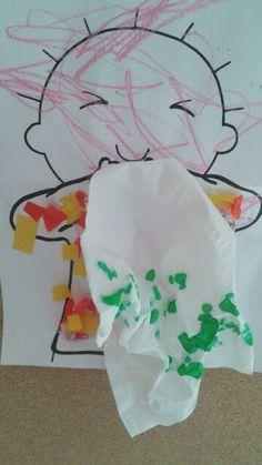 Jules zakdoek ziek Body Preschool, Preschool Arts And Crafts, Daycare Crafts, Baby Crafts, Toddler Crafts, Preschool Activities, Health Activities, Infant Activities, Germ Crafts