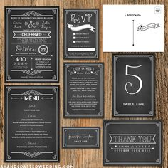Download and customize this Rustic Chalkboard DIY Wedding Invitation Set and print as many copies as you need! ahandcraftedwedding.com #printable #wedding #rustic