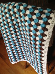 Granny Striped Crochet Baby Blanket in blue, chocolate and white.