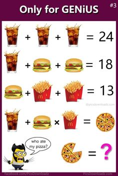 Burger fries coke Math Puzzles - Only for genius math puzzle - Solve this puzzle image Math Logic Puzzles, Math Quizzes, Mind Puzzles, Funny Brain Teasers, Math Olympiad, Sixth Grade Math, Math Talk, Math Challenge, Math Questions