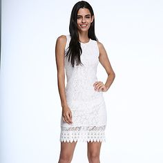 Women's+Party/Cocktail+Bodycon+Dress+Round+Neck+Knee-length+Sleeveless+White+/+Black+Cotton+Summer+Micro-elastic+Opaque+–+GBP+£+8.56